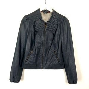 Doma gray genuine leather zip up jacket